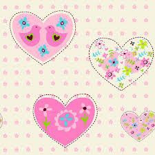 heart themed wallpaper girls bedroom pink various designs