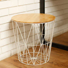 wire and wood basket side table white metal wire basket wooden top side table storage loft living