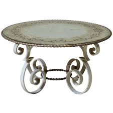 wrought iron end tables wrought iron coffee table with eglomisé mirror top france 1940s for