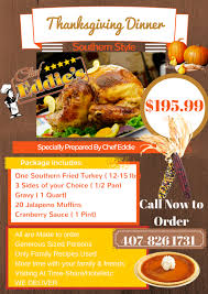 Soul Food Thanksgiving Dinner Menu Thanksgiving Package Chef Eddies Restaurant Soul Food