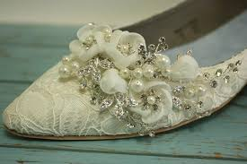 Wedding Shoes Ivory Lace Wedding Shoes Flat Closed Toe Lace Shoes Pearls Crystals