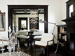love the white cream paint wall colors with dark floors and black