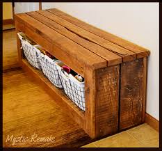 Diy Storage Bench Plans pallet wood storage bench hometalk