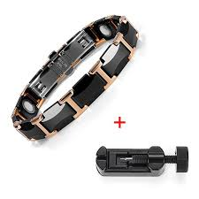 bracelet energy power images Black rose gold tungsten steel energy power bracelet magnetic jpg