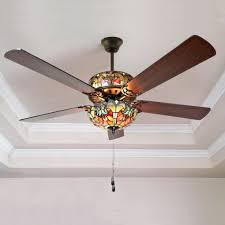 style ceiling fan stained glass fancy light living room