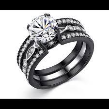 black wedding ring set jewelry black stainless steel wedding ring set size 6 poshmark