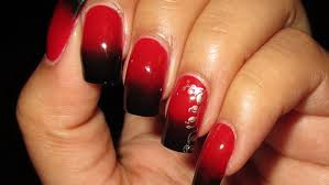 black u0026 red gradient with stamped accent nail art april 2013 4