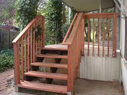 Banister Handrail Exterior Brown Outdoor Deck Stair Design Using White Railing