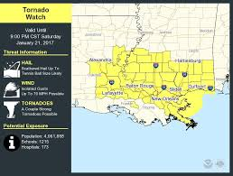 Weather Map Louisiana by Tornado Watch In Effect For Most Of Southeast Louisiana Until 9