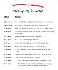 Sample Of Wedding Program 7 Best Images Of Wedding Day Itinerary Template Excel Sample