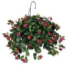 basket arrangements artificial purple fuchsia hanging basket transitional