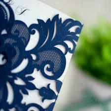 Navy Blue Wedding Invitations Navy Blue Laser Cut Pocket Wedding Invitations Ewws032 As Low As
