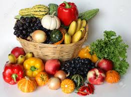 fruit and vegetable basket basket of autumn harvest vegetable and fruits stock photo picture