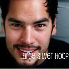 mens huggie earrings hoop earrings silver hoop earrings for men steel size l 190