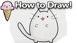 how to draw pusheen a cute kawaii cat cartoon drawing tutorial