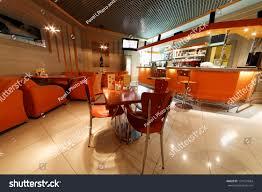 interior small cafebar orange tones stock photo 131561684