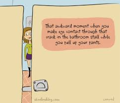 Bathroom Stall Meme - that awkward moment when you make eye contact through the crack in