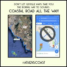 Google Maps Driving Drive To Sounio From Athens Along The Athens Coast Athens Greece