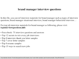 brand manager interview questions