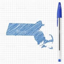 Massachusetts Map Massachusetts Map Sketch On Grid Paper Blue Pen Stock Vector Art