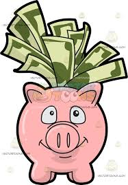 his and piggy bank a piggy bank filled with dollar bills clipart vector