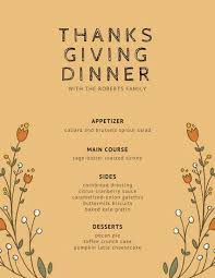 thanksgiving menu templates canva