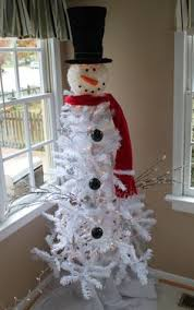 christmas trees made into snowman snowman i made from white