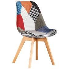 tavoli e sedie per sala da pranzo sedia patchwork colorata in tessuto e gambe in legno per living o