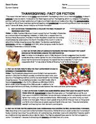 thanksgiving fact or fiction by chuck behm teachers pay teachers