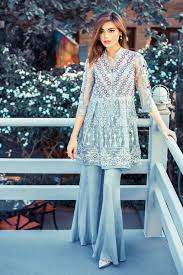 latest pakistani dresses with bell bottom trousers pants 2017