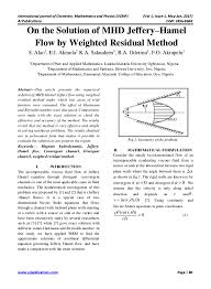 on the solution of mhd jeffery u2013hamel flow by weighted residual method