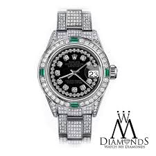diamond rolex new rolex black string 26mm datejust steel iced out diamond