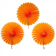 paper fans 3 orange paper fans candle cake party shop