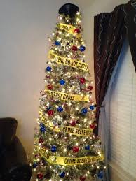 our themed tree crime blue