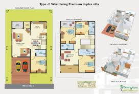 west facing duplex house floor plans hyderabad west facing vastu complaint duplex villas houses