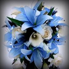 blue lilies blue and white wedding bouquet with lilies ipunya