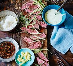 dips cuisine seared sirloin with japanese dips recipe food
