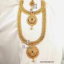 long necklace set images Temple long short necklace set leaf design online hayagi jpg