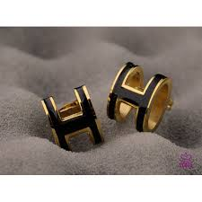 h earrings shop for lacquered hermes pop h black earrings in yellow gold