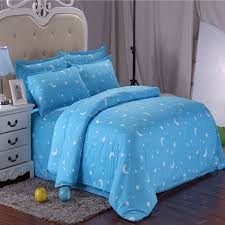 Duvet Cover Sizes Sale Cotton Blue Stars Moon Printing Bedding Set Bed Sheet
