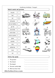 vocabulary matching worksheet transport means of transport