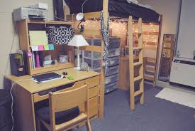 cool dorm room ideas design with nice wooden desk near black