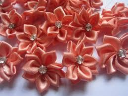 satin ribbon flowers 40pcs satin ribbon flowers w rhinestone coral r004 1 yycraft store