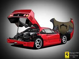 cartoon sports car ferrari f40 cartoon