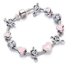 bracelet with heart charm images Pink heart charm bracelet women music beads bracelets bangles jpg