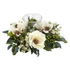 magnolia candelabrum silk flower arrangement nearly natural