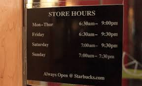starbucks hours of operation times updated 2017 with
