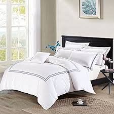 amazon com hotel navy and white 3 piece full queen duvet cover