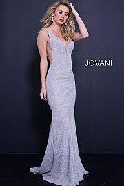plunging neckline jovani 45811 plunging neckline jersey prom dress glassslipperformals