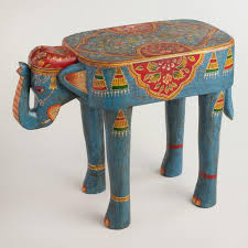 teal accent table teal painted wood elephant accent table world market